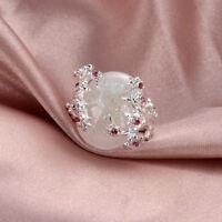 Elegante Silber Plum Flower Feueropal Ringe für Schmuck Frauen großen Stein Ring