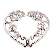 NON-PIERCING CLIP-ON Heart SILVER NIPPLE RINGS SHIELDS Pair