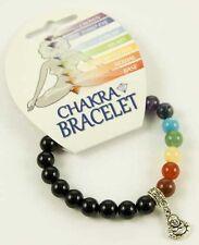 **BLACK ONYX & CHAKRA BEAD BRACELET WITH BUDDHA CHARM - HEALING / REIKI**