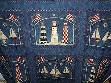CAPE INDEPENDENCE LIGHTHOUSE SAILBOAT BLOCK FABRIC PANEL Deb Strain for Moda