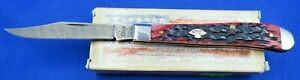 Case Crimson Bone Peach Seed Jig Slimline Trapper DAMASCUS BLADE Pocket Knife