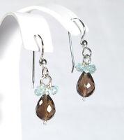 Delicate Handmade Aquamarine & Smoky Quartz Dangle Drop Silver Earrings NEW