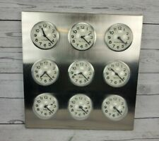 """Vintage Stainless Steel 9 City World Time Zone Bubble Wall Clock 15.75"""" Tall"""