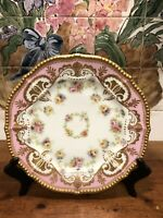 "Vintage Or Antique Limoges Plate Pink Gold Beaded Rim Marked France 9.5"" #1"