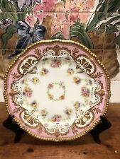 Vintage Or Antique Limoges Plate Pink Gold Beaded Rim Marked France 9.5� #1