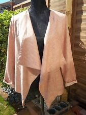 NEW LOOK STYLISH SALMON PINK LINEN MIX WATERFALL JACKET SZ UK 12  EUR 40  EX CON