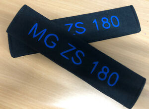 2 x vinyl printed MG ZS 180 Universal Seat Belt Shoulder Pads Black & Blue