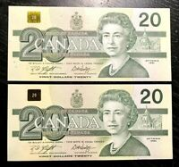 1991 $20 BANK OF CANADA SET OF 2 CONSECUTIVES - UNC+ Cond!