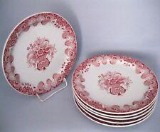 6 Speiseteller Bauscher Weiden weiß mit rotem Dekor 27,5 cm Tafelteller Teller