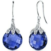 14k White Gold Blue Sapphire and Diamond Earrings 18.06 carats