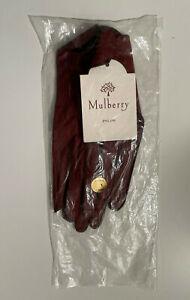 MULBERRY England Women's Cape Leather Driving Gloves Burgundy P78-TEAK Size L NE