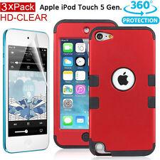 AU Tough Impact Heavy Duty Case+HD Films for Apple iPod Touch 5 5th Gen 5G - Red