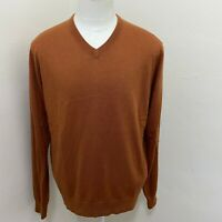 JOHNSON & MURPHY MEN'S SILK/ANGORA MARLE KNIT V-NECK SWEATER SIZE L  B10-09