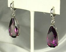 AMETHYST Drop Earrings OR Pendants~18K Double Plated WHITE GOLD~FAB Facet Work!!