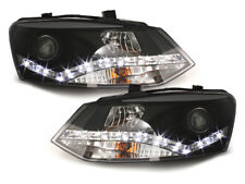 VW Polo 6R DAYLINE Fari Anteriori 09+ Nero DRL Headlights Lamps