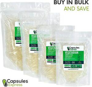 Size 00 Clear Empty Vegan/Vegetable Vegetarian Pill Capsules Veg Vcaps USA Made