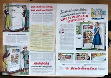 Original Print Ad 1950 KELVINATOR Refrigerator 2 Page 1950s