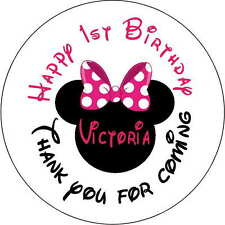 12 1st ears minnie mouse stickers Birthday Party 2.5 Inch Personalized  red pink