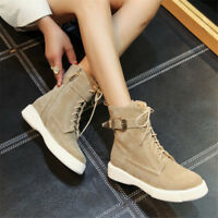 Women Suede Lace Up Martin Boot Round Toe Ankle Buckle Low Heel Side Zip Booties