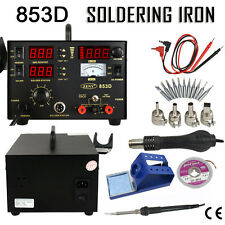 Rework Soldering Station Hot Air Gun Solder Iron DC Power Supply SMD 853D 3 in 1