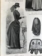 MODE ILLUSTREE SEWING PATTERN April 21,1889 - RIDING COSTUME, TULLE DRESS