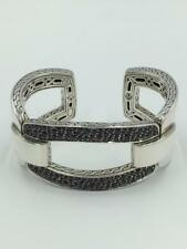 NWT $2,200 John Hardy Classic Chain Black Sapphire Sterling Silver Cuff Bracelet