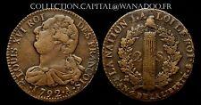 2 Sols Constitution Francois Louis XVI 1792A An4 SUP Cote 600€ Très RARE Qualité