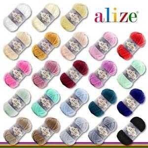 Alize 100 g Velluto PREMIUM Wolle |23 Farben zur Auswahl| Chenillegarn Samtwolle