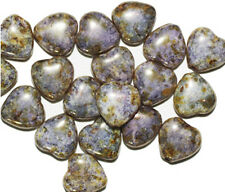 Luster Gold Picasso Heart Czech Pressed Glass Beads 10mm (pack of 20)
