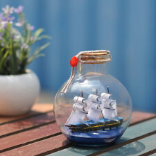 Mini Modellino Modello Barca Veliero In Bottiglia Bottiglina Vetro Rotonda moc