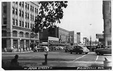 Painesville OH Main Street Storefronts Old Cars Real Photo Postcard
