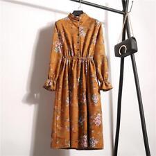 Vintage Women Corduroy Floral Casual Party Long Sleeve Retro Boho Maxi Dress