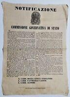 Bando Rep. Romana Riordinamento dei corpi militari dello Stato Pontificio 1849