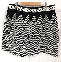 Hush Short Skirt Size 14 Black White Geometric Aztec Embroidered