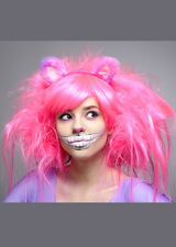 Womens Deluxe Neon Pink Cheshire Cat Style Wig DOES NOT INCLUDE EARS