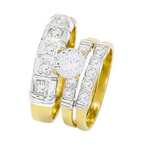 14k Two Tone Gold Round Cubic Zirconia Bridal Wedding Trio Ring Set (1.57 cttw)