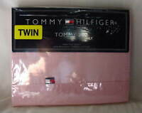 Tommy Hilfiger Tommy 200 Twin Size Flat Cotton Bed Sheet Pale Pink NEW NWT