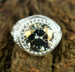 10.06 Ct Gray Diamond Solitaire Halo Men's Ring-Free Certificate Of Authenticity
