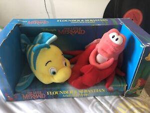 Disney Little Mermaid Sebastian and Flounder Stuffed Animals In Box