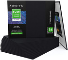 Arteza Canvas Boards for Painting, Pack of 14, 8 x 10 Inches, Blank Black Canvas