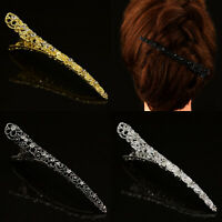 "5.5"" Filigree Hair Beak Clip Duck Alligator Claw Jaw Concord Rhinestone Crystal"