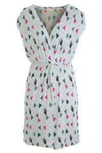 "ST-MARTINS Multi Colour Geo Print ""Ellie"" Elastic Waist Wrap Dress Size 38/AU12"