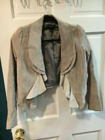 Bagatelle Women's Light Gray Genuine Leather Drape Jacket - Size M