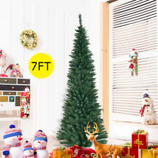 7FT 210CM Artificial Christmas Tree Xmas Green Trees Slim for Small Room New