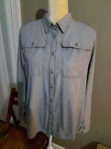 Orvis Women's blue Checked Vented Fishing Shirt Size medium