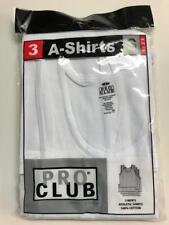 3 New PROCLUB MEN'S A-shirts White Tank Top Undershirts Pro Club SMALL-7XL 3PC