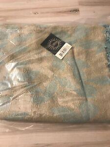 Surya Gray & Teal Leaf Synthetics Damask Throw Blanket TMR2002-5070 Modern