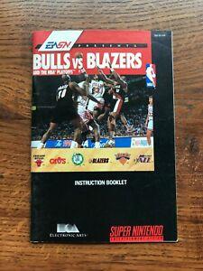 Bulls Vs Blazers NBA Basketball SNES Super Nintendo Instruction Manual Only