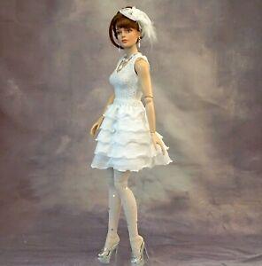 "4 Pc White Dress Stockings Hat Ellowyne Tonner RTB-101 Ficon 16"" Fashion Dolls"
