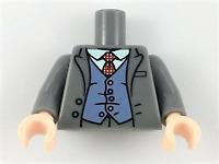 LEGO Minifigure Torso Top Jacket White Shirt, Red Tie Sand Blue Vest suit